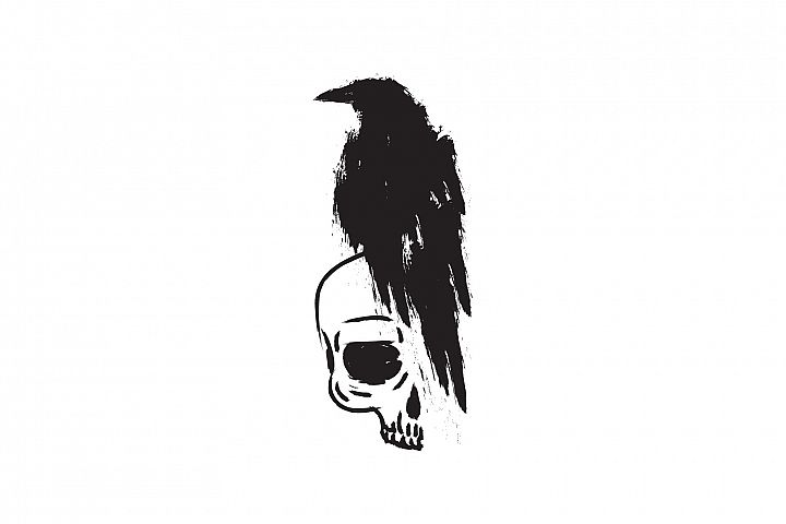 Black raven crow on skull isolated on a white background.