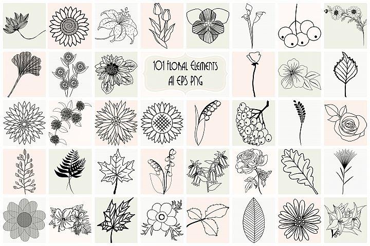 101 Botanical Floral Elements Vector Bundle AI EPS PNG