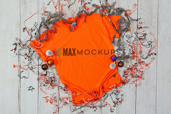 Orange shirt mock up, Halloween flatlay, styled stock photo