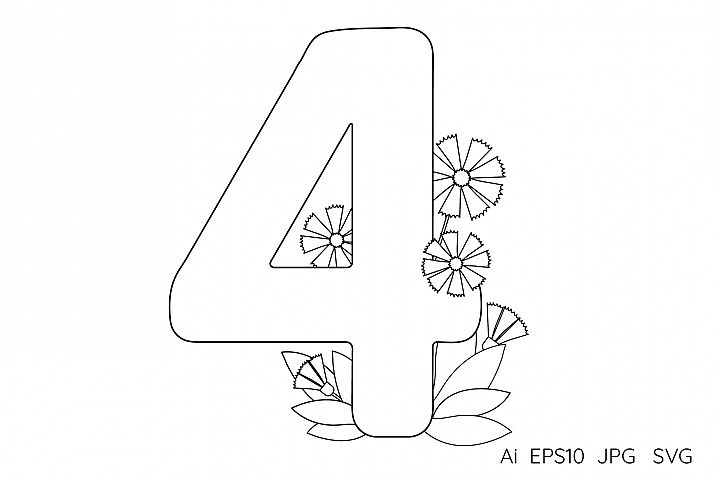 Numeral, number Four. Flowers. Coloring page.