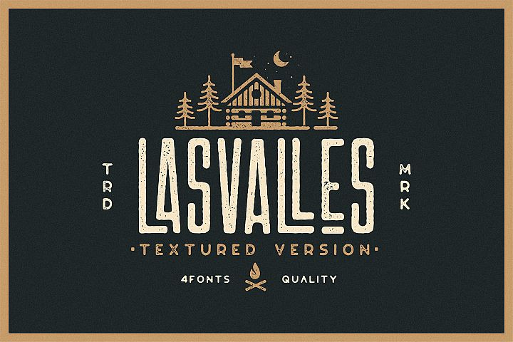 Las Valles Ultra Textured Condensed Typeface 4 Fonts
