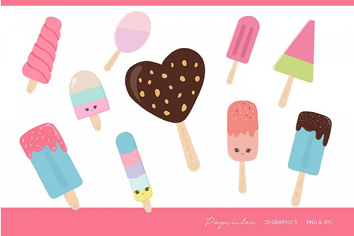 Popsicles Clipart- png, jpg, 300 dpi, 20 graphics