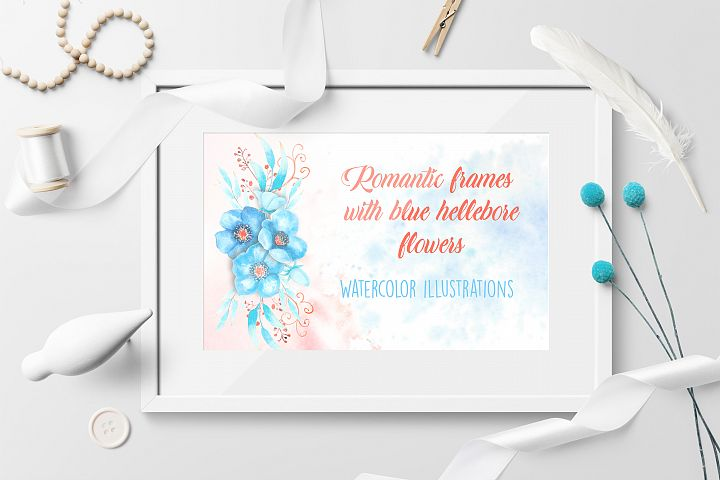 Romantic frames with blue hellebore flowers