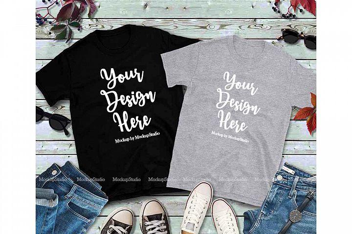 Matching Couples Black Gray T-Shirts Mockup, Shirt Mock Up