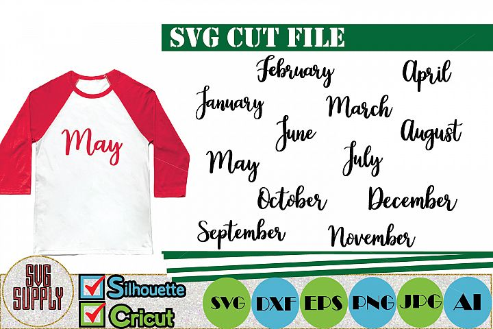 Months of the Year SVG Cut File