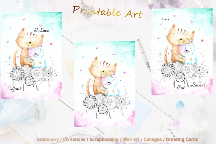 Watercolor CuteCats for Home Decor and Craft Works