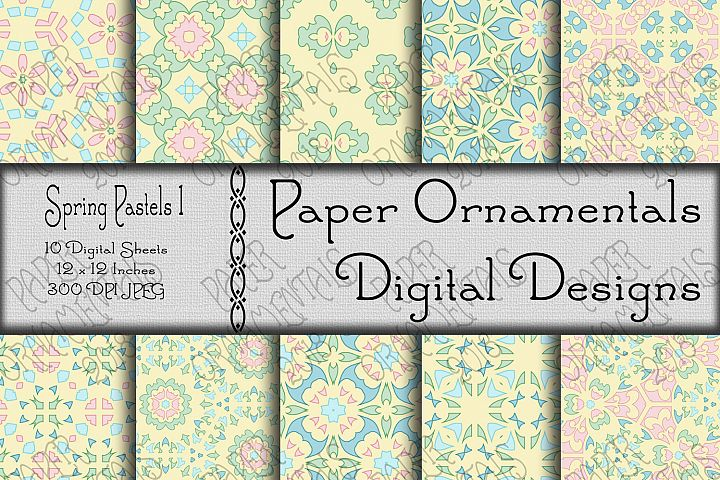 Spring Pastels Digital Paper For Crafts & Background