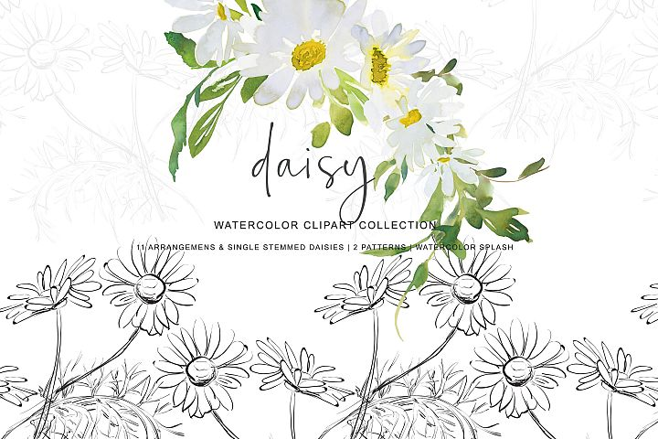 Watercolor Daisy Arrangement Clip Art