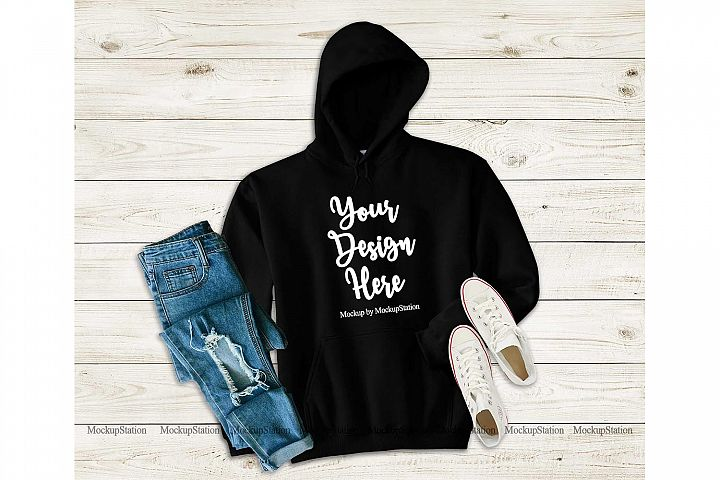 Black Hoodie Mockup, Hooded Sweatshirt Mock Up Flat Lay
