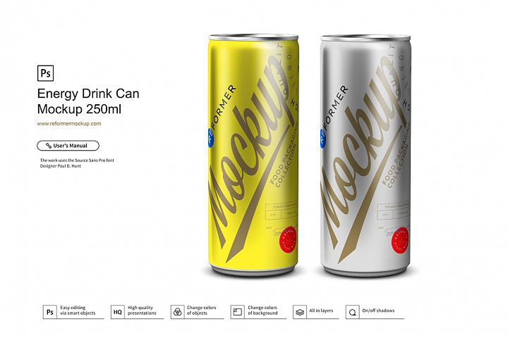Energy Drink Can Mockup 250ml