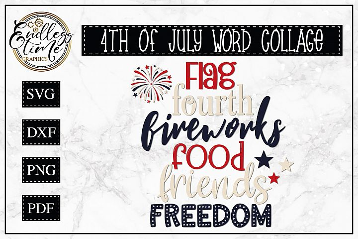 4th of July Word Collage - Favorite F Words - Patriotic SVG