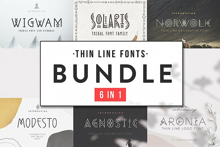 Thin Line Font Bundle 6 in 1