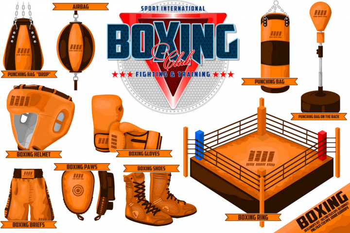 Boxing equipments. For decoration, print or advertising.