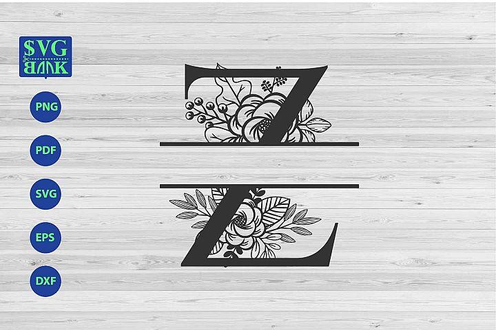 Split monogram letter Z Svg, Alphabet floral initial logo Z