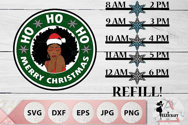 Water Bottle Tracker Christmas Afro Woman SVG Cut Files