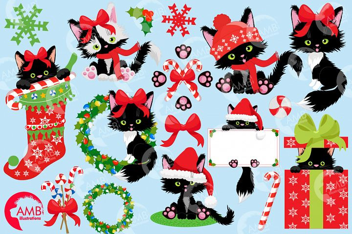 Cute little black cats, Christmas cats AMB-2662