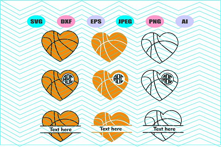 Basketball monogram Svg Dxf Eps Png Jpg Ai Cut Vector Vinyl