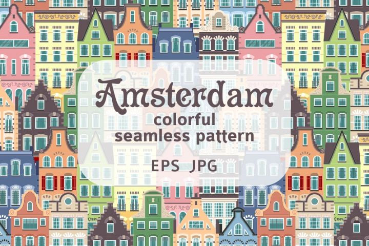 Seamless pattern of Holland houses