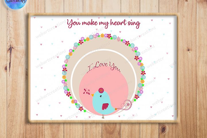 Singing love Bird Illustration