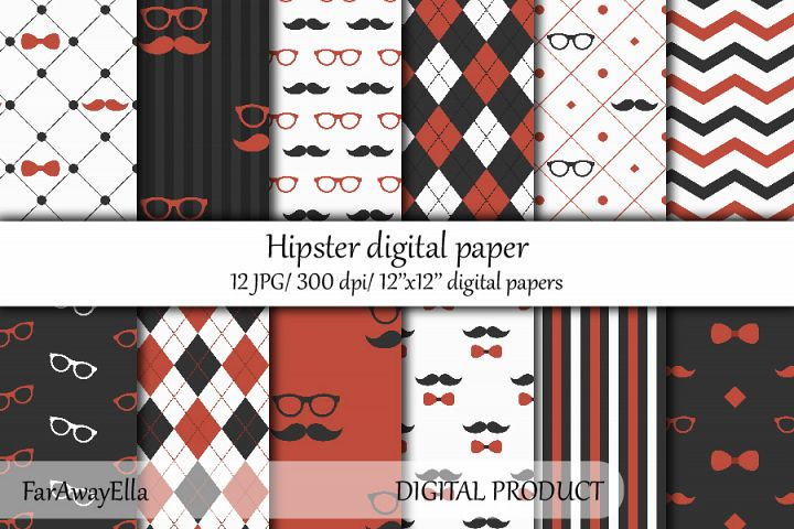 Gray and orange hipster digital paper