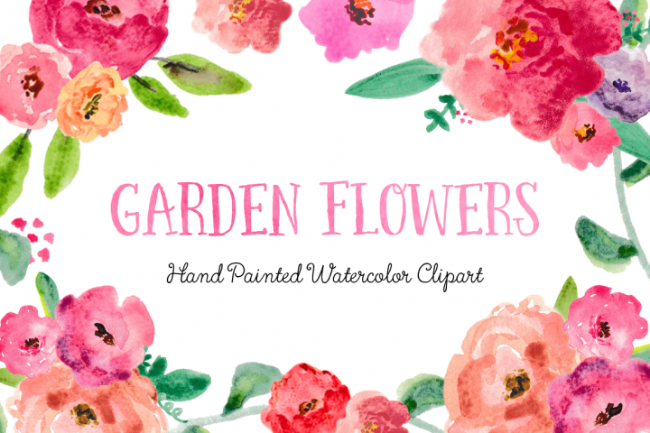 Garden Flowers Watercolor Clipart