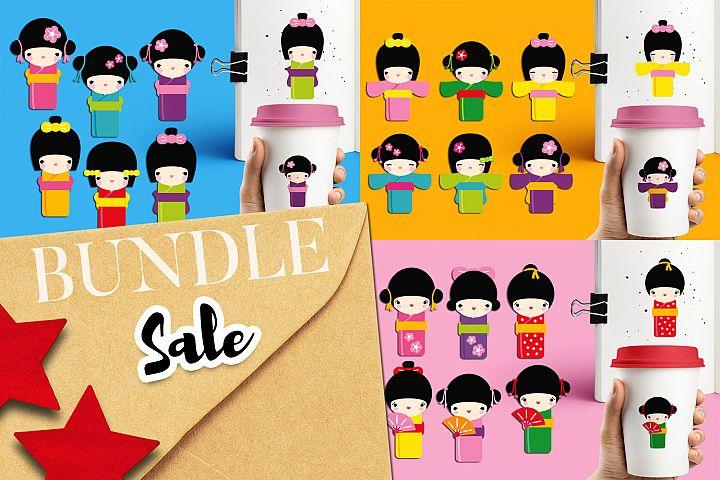 Japanese kimono dolls illustrations bundle
