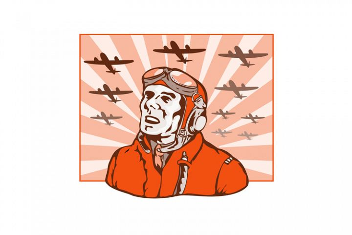 World War Two Pilot Airman Retro