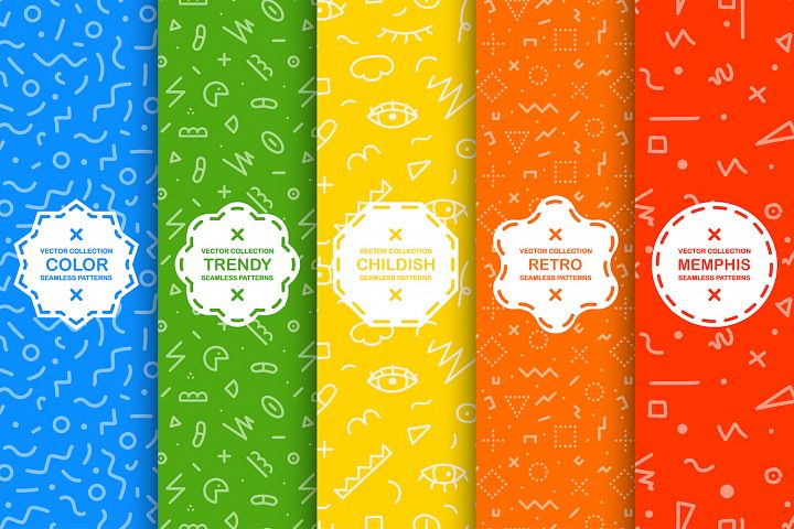 Trendy seamless colorful patterns