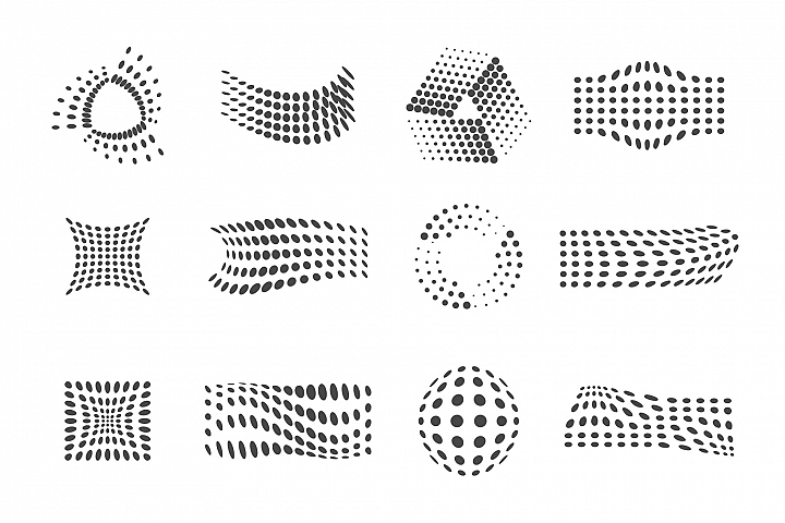 Dots symbol logo composition set