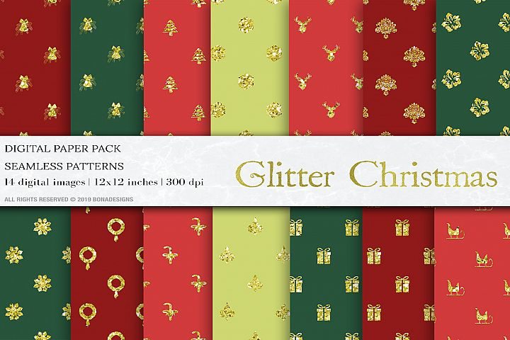 Christmas Digital Papers, Gold Glitter Christmas Patterns