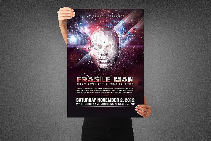Fragile Man Church Poster Template