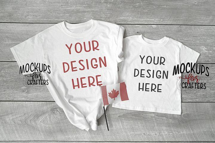 Adult, Youth, Child tshirts - mock-up - Canadian theme