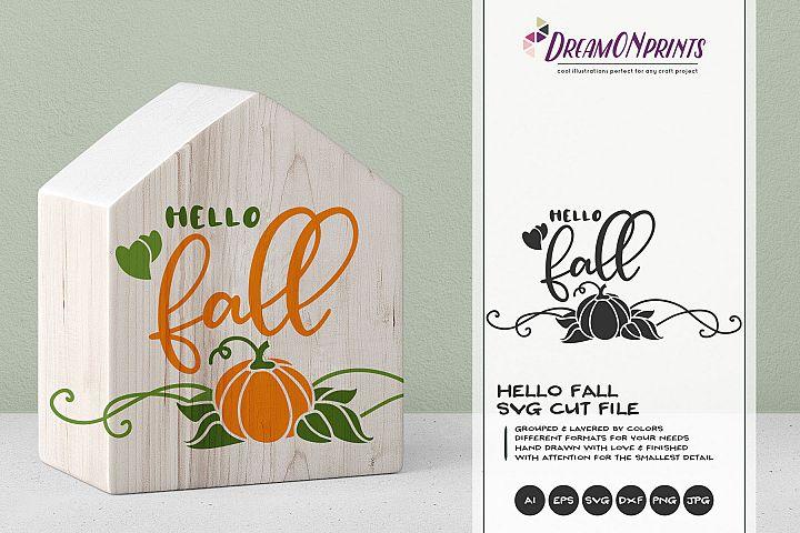Hello Fall SVG | Pumpkin SVG Cut File