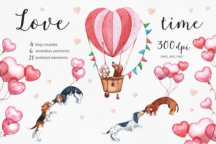 Watercolor Valentines Day set illustrations.14 Februry. Dog