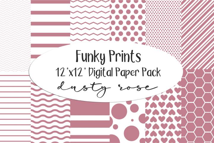 Funky Prints 12x 12 Dusty Rose Digital Paper Pack