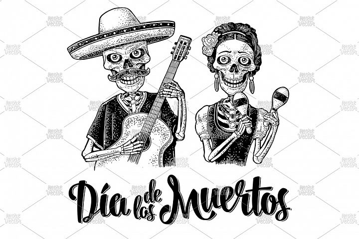 Skeletons dressed in Mexican national costumes. engraving