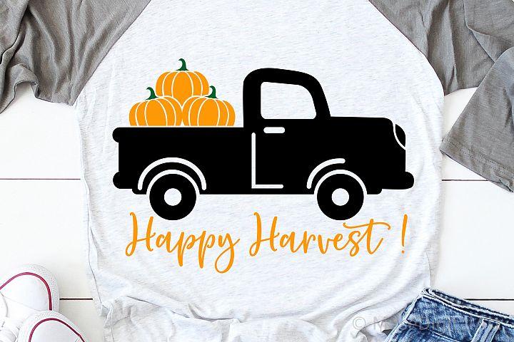 Happy Harvest Svg, Pumpkin Truck Svg, Fall Svg, Pumpkins Svg