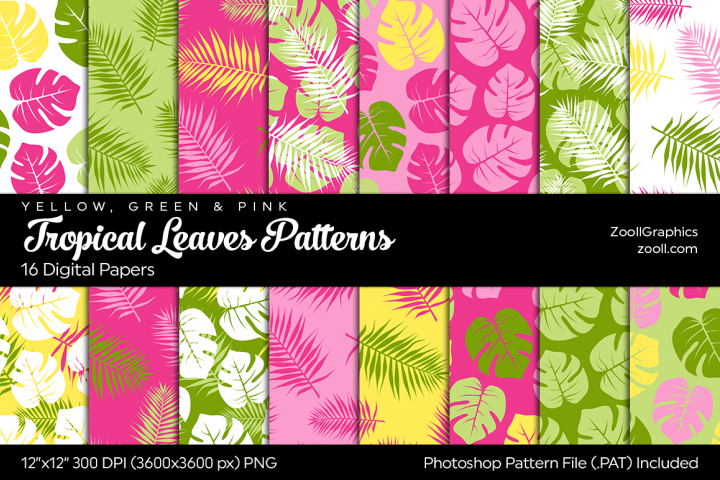 Tropical Leaves Digital Papers Yellow, Green And Pink