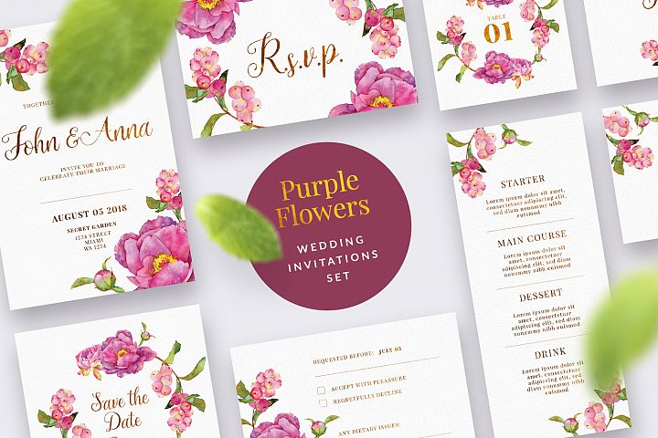 Purple Flower Wedding Invitation Set