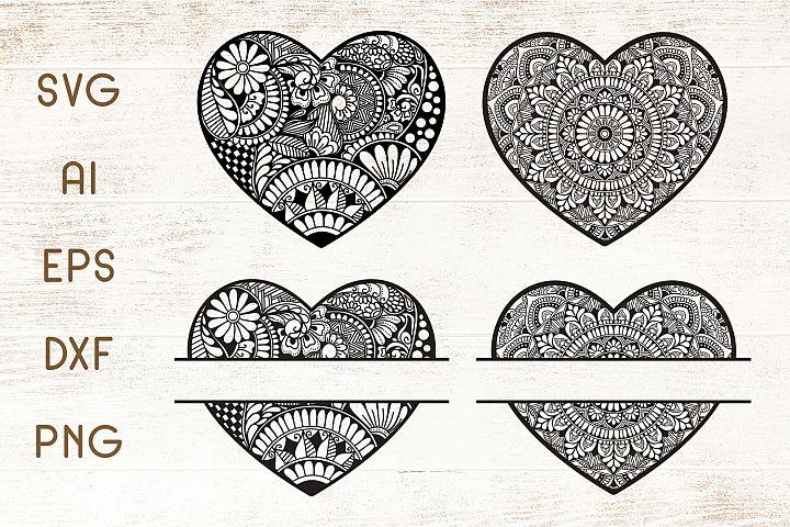 Heart Mandala - Split Monogram SVG