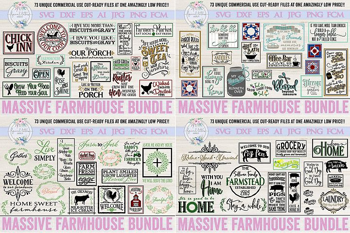 Farmhouse Bundle of 73 SVG DXF Cut File