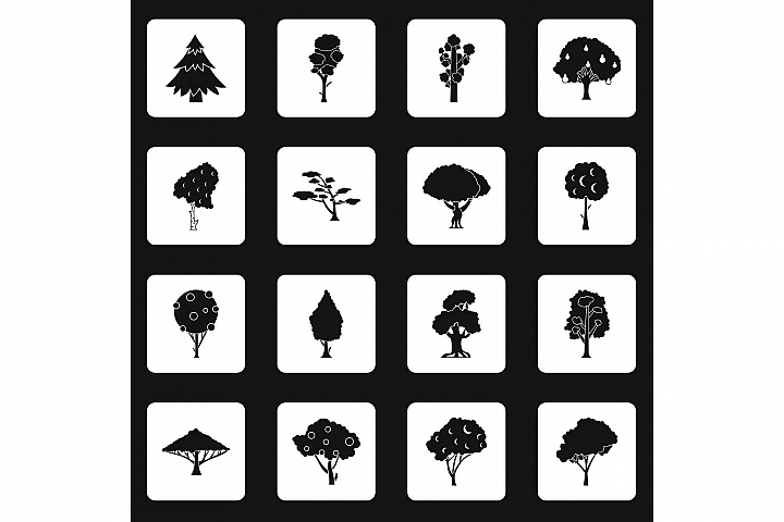 Trees icons set squares vector