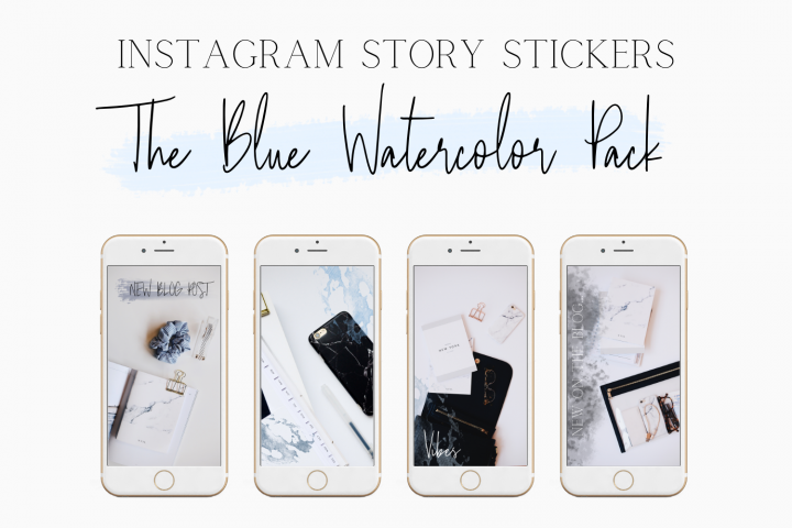 Blue Watercolor Instagram Stickers