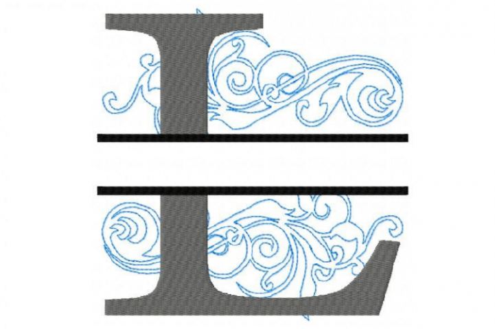 Embroidery Fonts Split Monogram, Monogram L, 4X4 5X7 6x10