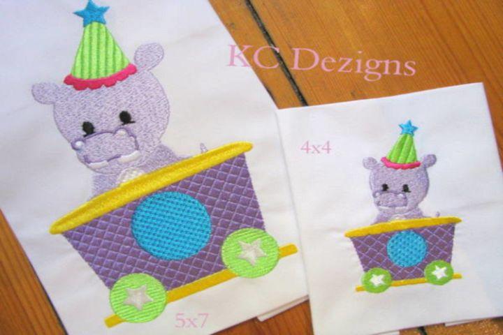 Hippo In Train Machine Embroidery Design