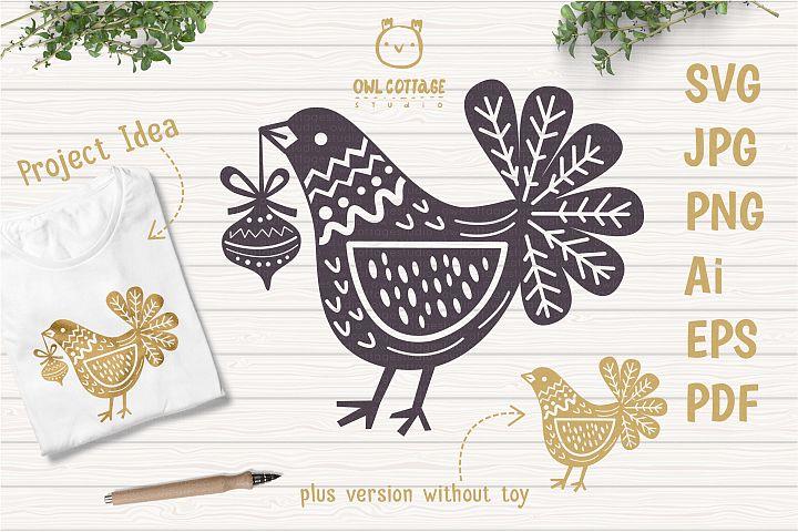 Christmas Bird SVG, Scandinavian Ornatel Bird with Christmas