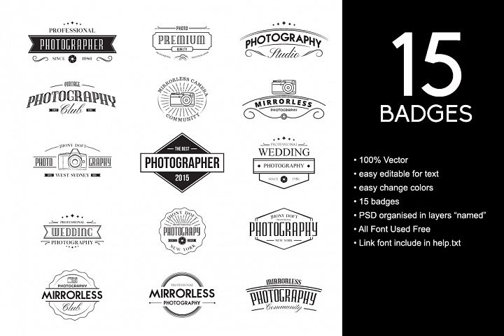 Vintage Badges for Photography