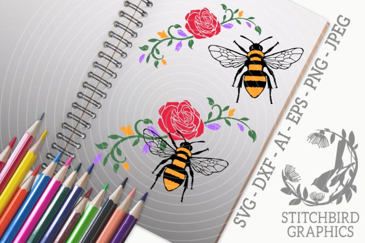 Bee on Flowers SVG, Silhouette Studio, Cricut, Eps, Jpeg, Ai