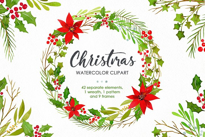 Watercolor Christmas Greenery Leaves Pine PNG