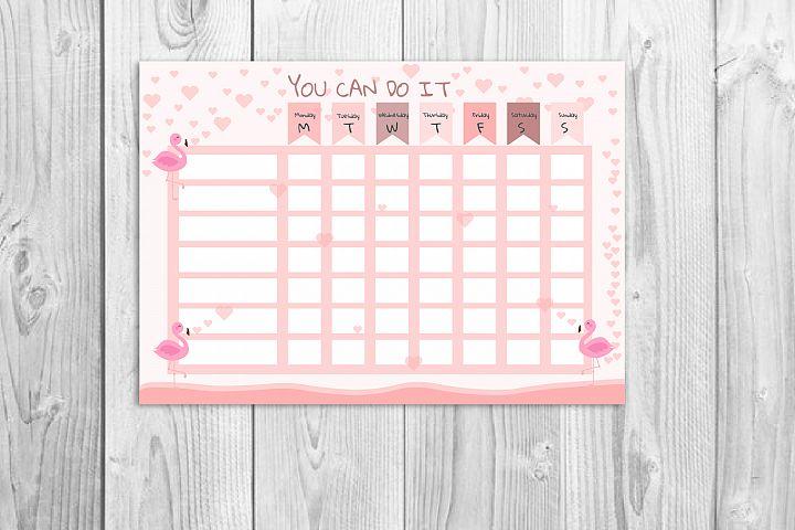 Kids reward chart, Flamingo graphic, Kids chore chart